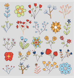 20 isolated flowers doodle set vector