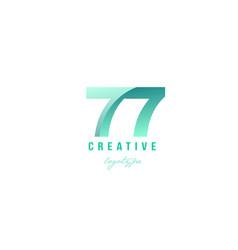 77 green pastel gradient number numeral digit vector