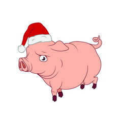 A pig with a santas hat on as a symbol of the vector