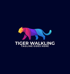 Abstract tiger walking colorful concept template vector