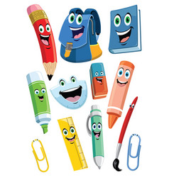 Achool supplies cartoon character set vector