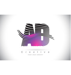 ad a d zebra texture letter logo design with vector image