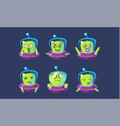 Alien character in ufo set funny monster with vector