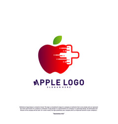apple with medical plus logo design concept vector image