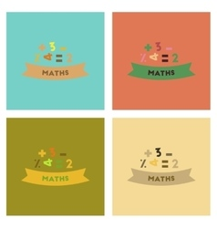 Assembly flat icons math lesson vector