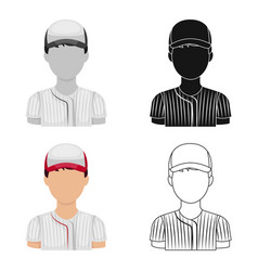 baseball player baseball single icon in cartoon vector image