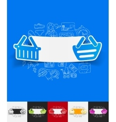 Basket paper sticker with hand drawn elements vector