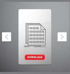 Binary code coding data document line icon in vector