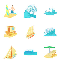 Body of water icons set cartoon style vector