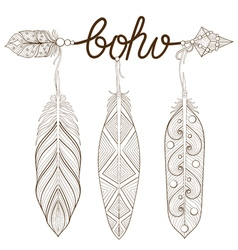bohemian arrow hand drawn amulet boho with henna vector image