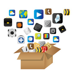 Box of cardboard opened with global communicate vector