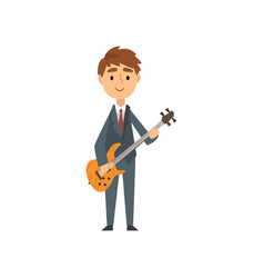 boy playing electric guitar talented young vector image