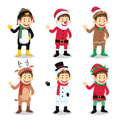 boy wearing christmas costume vector image