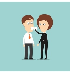 Business woman put a cloth gag in colleagues mouth vector image