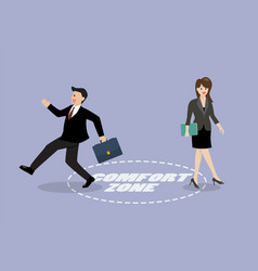 Businessman and woman exit from comfort zone vector