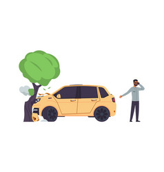 car accident automobile crashes into tree man vector image