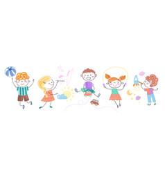 Cartoon children doing different activities vector