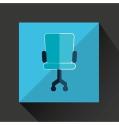 Chair blue wheel blue with orange background vector