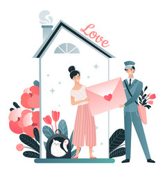 Character lover female get letter from mail vector