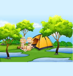 Camping background. Clipart vector images over