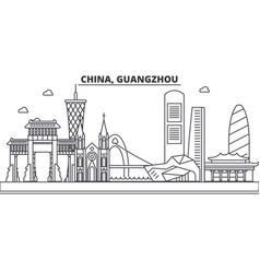 china guangzhou architecture line skyline vector image