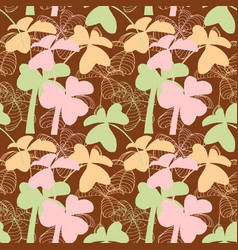 clover seamless pattern in pastel colors vector image