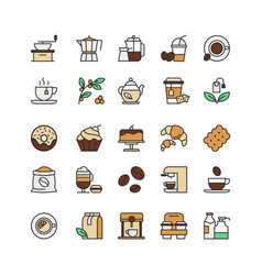 coffee and tea drinks linear icons set takeaway vector image