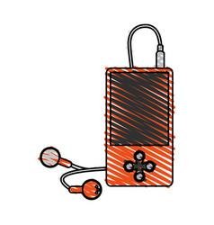 Color crayon stripe cartoon portable music device vector