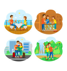 couple traveling together people on vacation vector image