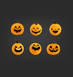 Cute 3d pumpkins cartoon characters set vector