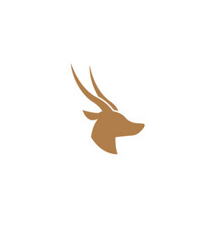 Deer and hind head with two horns logo vector