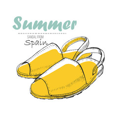 Drawing sandal from spain vector