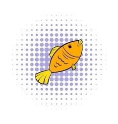 Dry fish icon comics style vector
