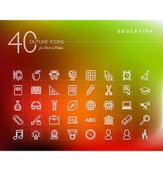 Education outline icons set vector