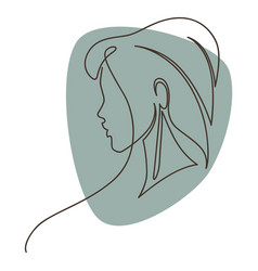 elegant woman portrait continuous minimalist line vector image