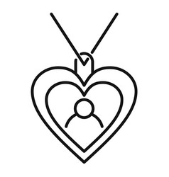 Emblem heart affection icon outline style vector