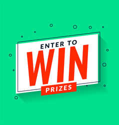 Enter to win prizes template in memphis style vector