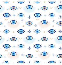 evil eye seamless pattern magic talisman and vector image