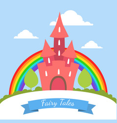 fairy tales banner template cute red magic castle vector image
