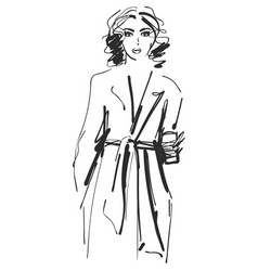 Fashion models sketch girl with coffee in trench vector