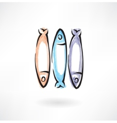 fish grunge icon vector image