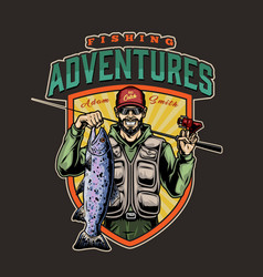Fishing colorful logo vector