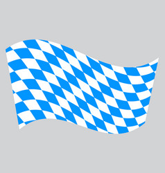 Flag of bavaria waving on gray background vector