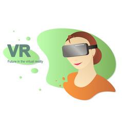 flat woman and virtual reality gadget vector image