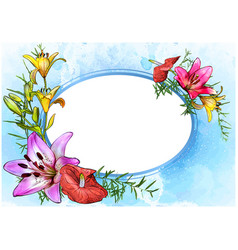 floral greeting card with watercolor background vector image