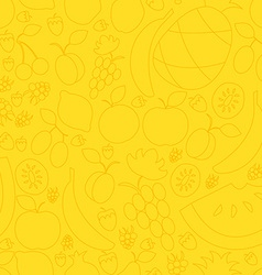 Fruit hand drawn seamless pattern in flat vector