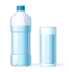 glass water and plastic bottle hydration vector image