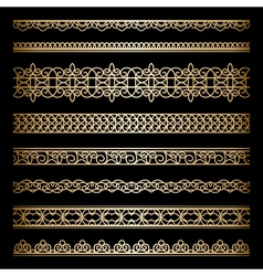 Gold borders set vector