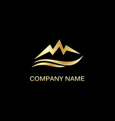 gold mountain abstract logo vector image