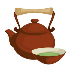 Green tea cup and teapot chinese hot drink in clay vector